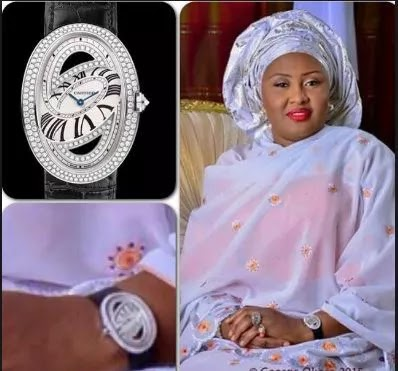 3 times Aisha Buhari has shown off her wealth - Aisha Buhari wearing a Cartier watch at the 2015 inauguration caused an uproar.
