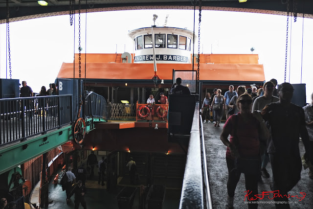 Disembarking the Andrew J. Barberi ferry at Staten Island NY.  Travel photography by Kent Johnson.