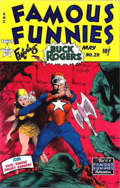 Frank Frazetta Buck Rogers 1950s golden age science fiction comic book cover / Famous Funnies #211