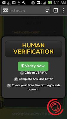 Setelah itu tunggu sebentar sampai muncul tulisan Verifiy Now, Setelah muncul silakan kalian klik Verify Now tersebut untuk lanjut ke langkah berikut agar bisa mendapatkan Coins dan Diamonds Free Fire secara gratis