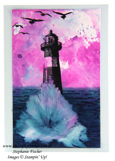 Sunset, Ocean, lighthouse, High Tide, Watercolour Background, #thecraftythinker, Stampin' Up Australia Demonstrator, Sydney, NSW