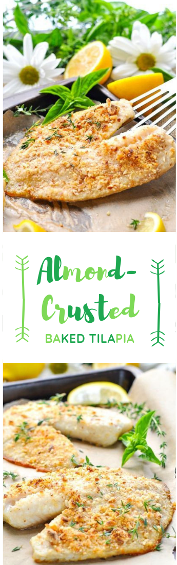 CRUSTED BAALMONDKED TILAPIA #food