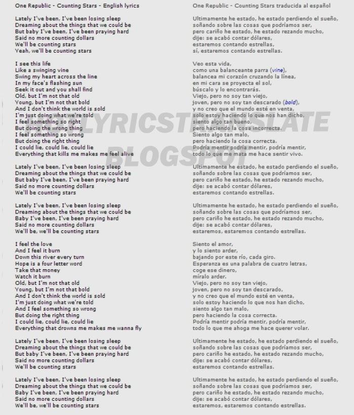 TOP LYRICS TRANSLATED CANCIONES TOP TRADUCIDAS: One Republic - Counting Stars (2013)
