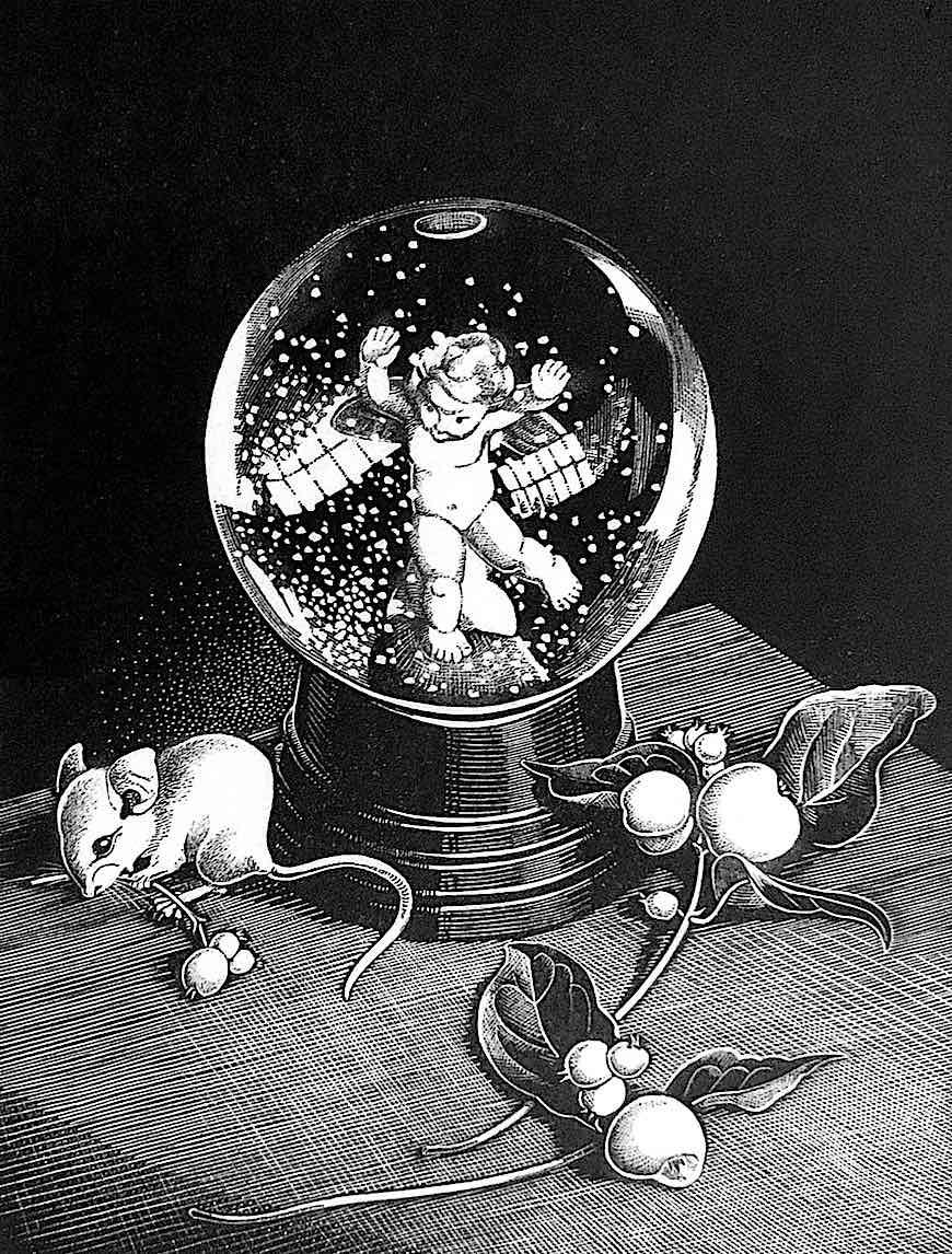 a Dorothy Lathrop 1968 scratchboard illustration of a snow globe
