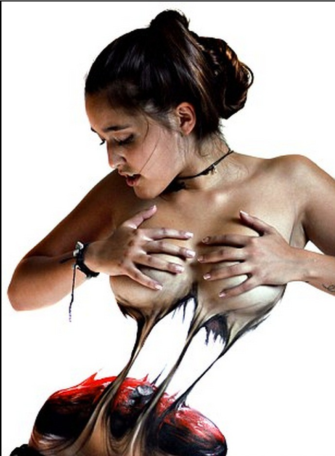 Chilean artists to create ultra-realistic torn body painting
