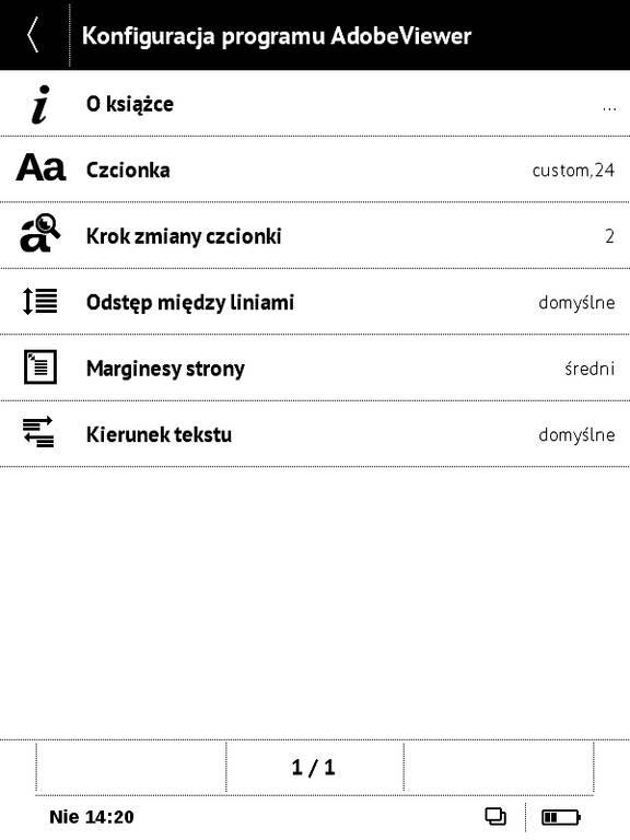 PocketBook Basic Touch 2 Save & Safe – ustawienia w aplikacji Adobe Viewer