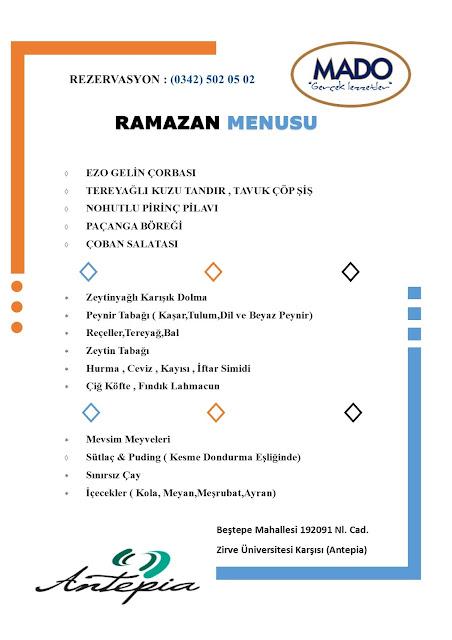 mado antepia menü mado antepia fiyat mado antepia iftar menüsü mado gaziantep iftar menüsü