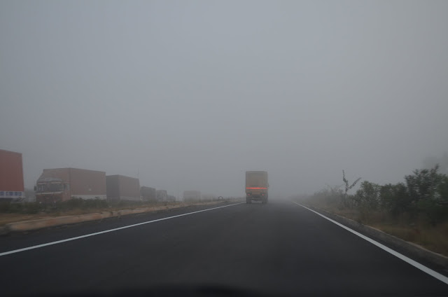 Foggy Roads near Chikballapur en-route Hyderabad
