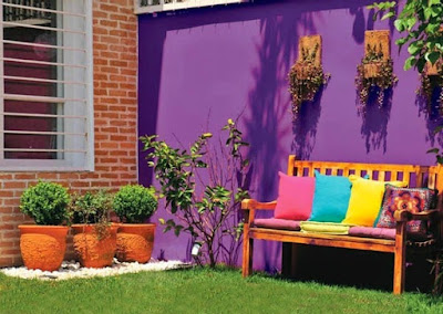 Blue, Green and Purple, Colorful Touches for Outdoor Decorating