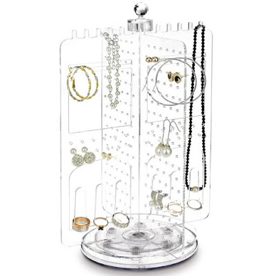 Use the acrylic rotating jewelry display stand for your collection.