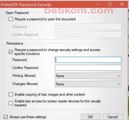 Memberi Password file pdf
