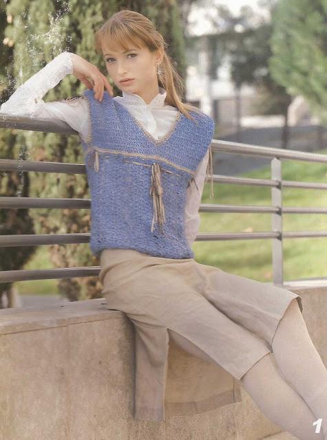 Patrón #789: Blusa Azul a Crochet