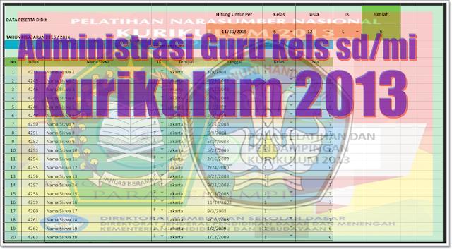 administrasi guru kels sd/mi Kurikulum 2013