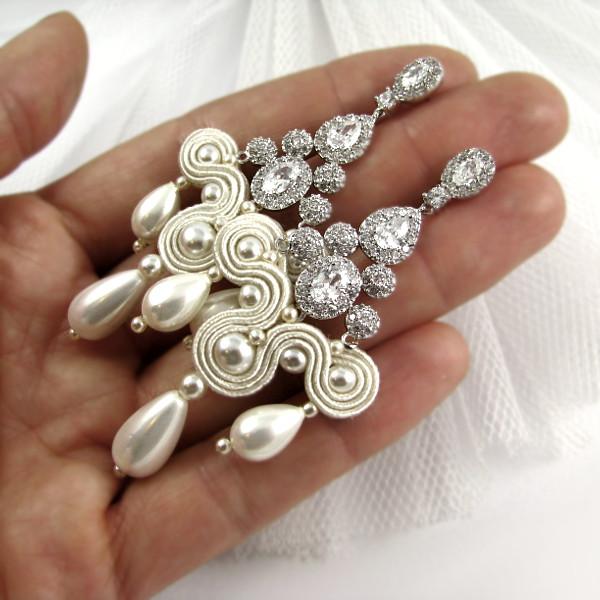 Sutaszowe kolczyki ślubne w kolorze ivory