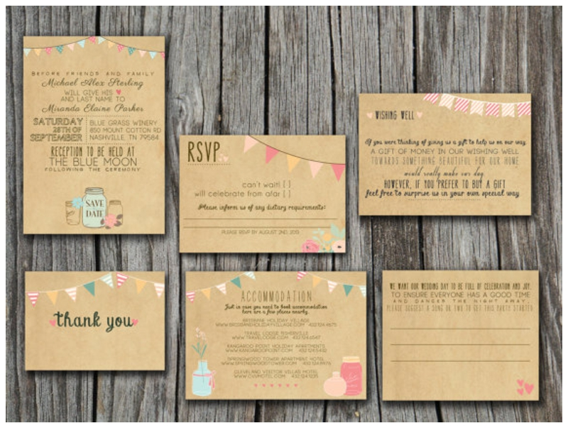 Whimsical Print Your Own Vintage Wedding Invitations