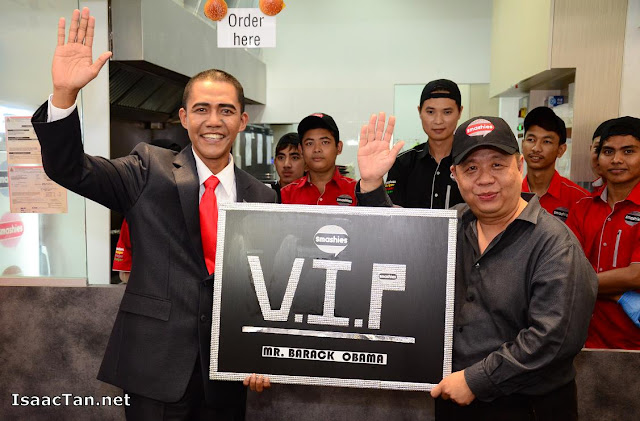 "The first VIP card being presented to ""Barrack Obama"""