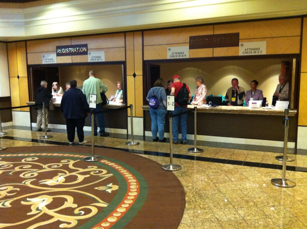 Attendees checking in at the Conference