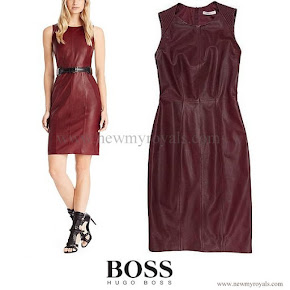 Queen Letizia wore Hugo Boss Leather Sheath Dress