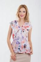 Bluza din voal gros cu imprimeu floral mov cu bej piersica B493 (Ama Fashion)