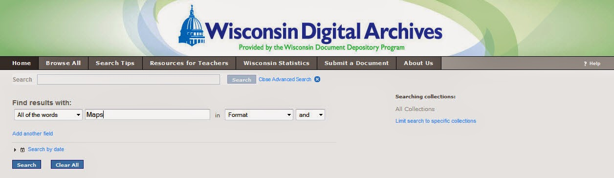 screenshot of Wisconsin Digital Archives page