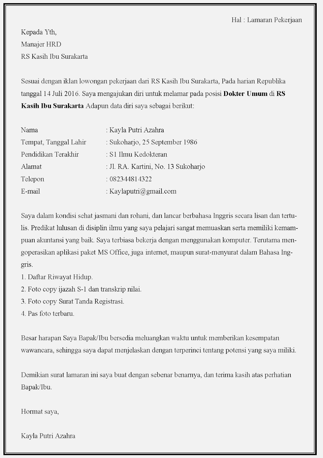 Contoh surat lamaran kerja dokter di rumah sakit Kasih Ibu Surakarta