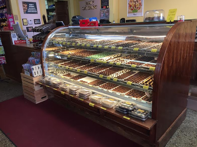 Chocolate counter at Maumee Valley Chocolate and Candy in Ohio