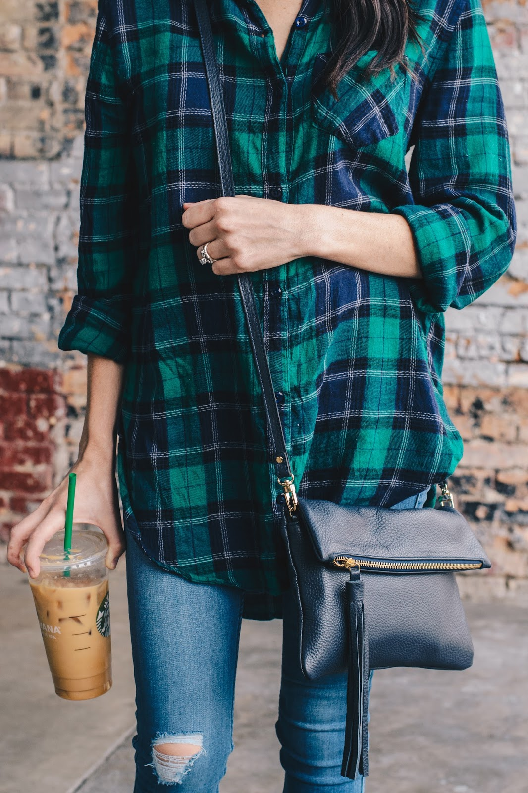 Italian Leather Fringe Cross body Bag and Plaid Top