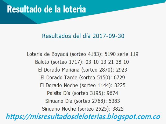 Como jugo la lotería anoche | Resultados diarios de la lotería y el chance | resultados del dia 30-09-2017