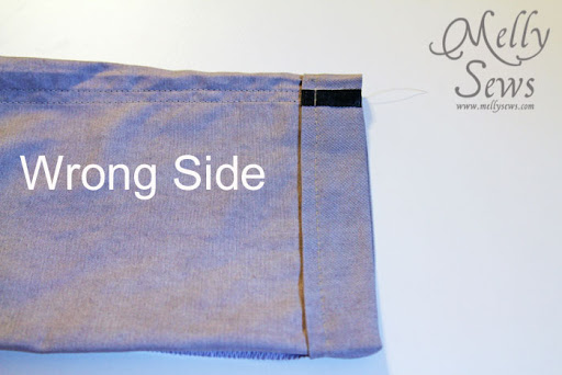 Wrong side, step 1 - How to Sew a Blind Hem with your Sewing Machine - Melly Sews