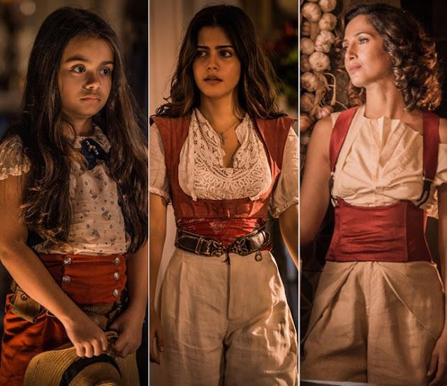 Montagem com as três atrizes que interpretam Maria Tereza,