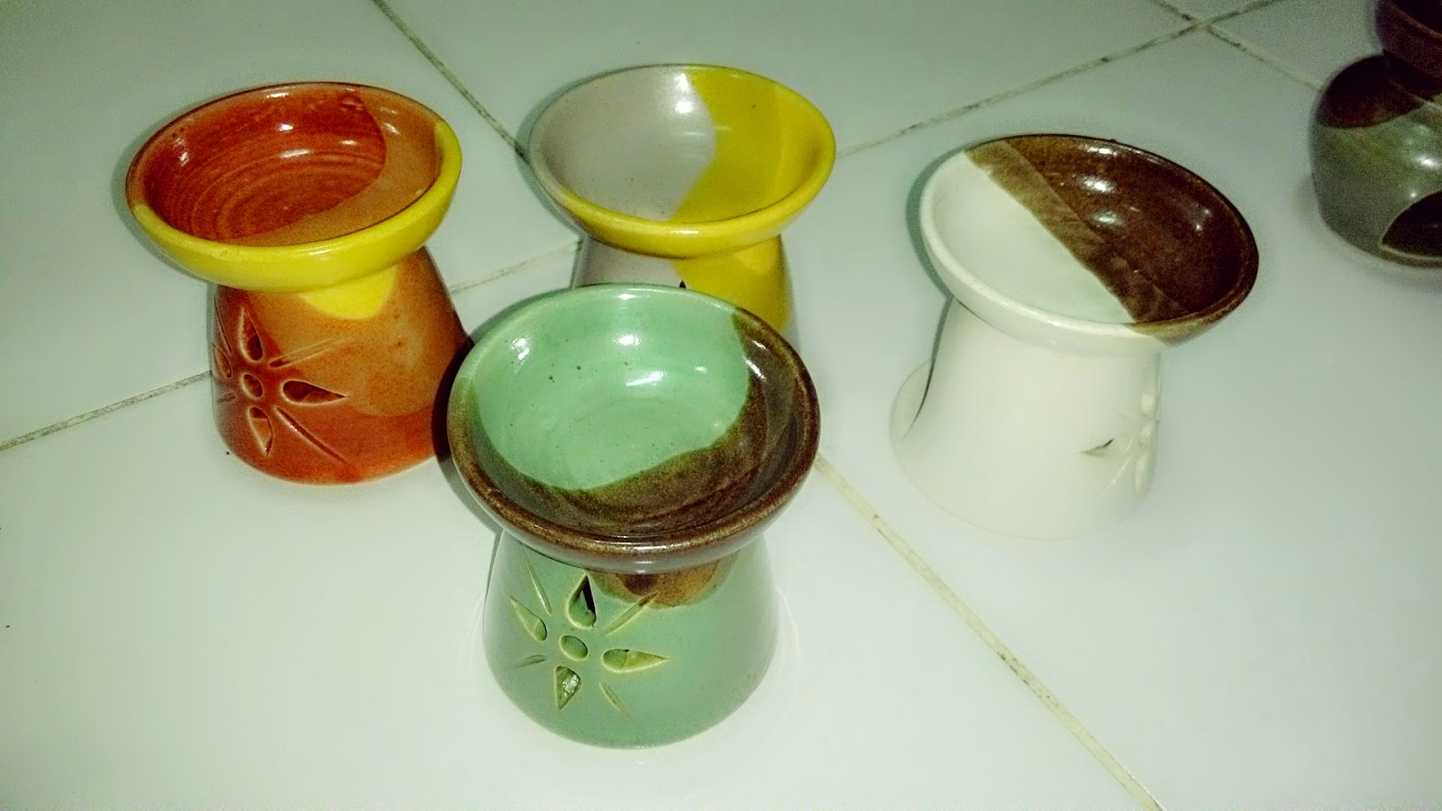 Ceramic oil burner BT full glasir tungku aromaterapi