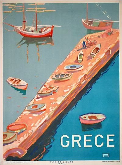 Vintage Greek travel poster 1948
