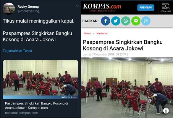 Paspampres Singkirkan Bangku Kosong di Acara Jokowi, Begini Komentar Rocky Gerung