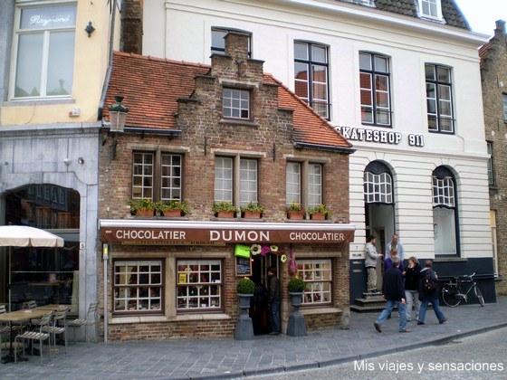 Tiendas en chocolates en Brujas, Bélgica
