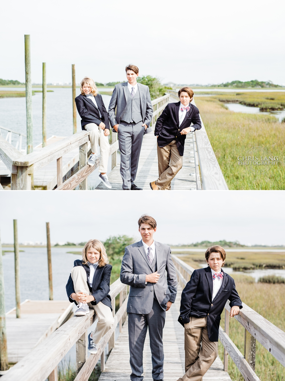 Image of three boys dress in suits and bowties - southern style - Wilmington NC Portrait Photographer