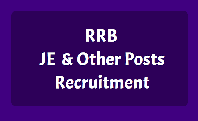 rrb je junior engineer and other posts