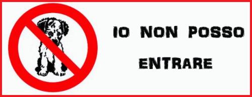 cartello di divieto per gli ingressi agli animali