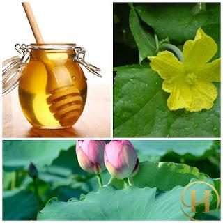 Lá mướp non, mật ong nguyên chất và lá sen giúp trị thâm nám hiệu quả