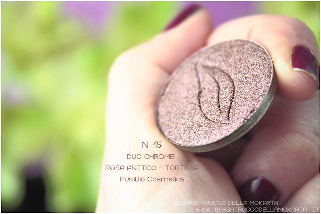 n 15 duochrome rosa antico tortora recensione ombretto eyeshadow Purobio Cosmetics