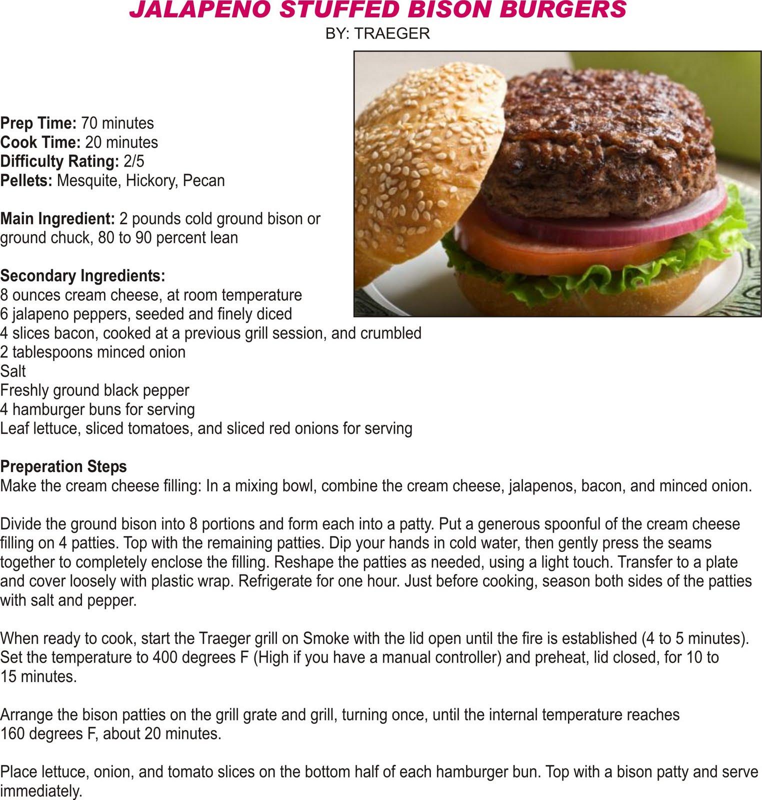 Traeger Grills: Jalapeno Stuffed Bison Burgers
