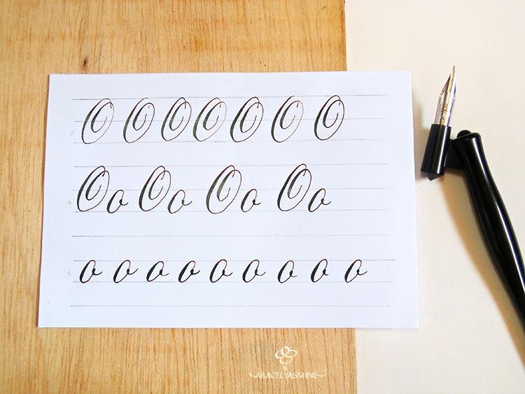 """Caligrafía copperplate, ¿cómo escribir la letra """"O""""?"""