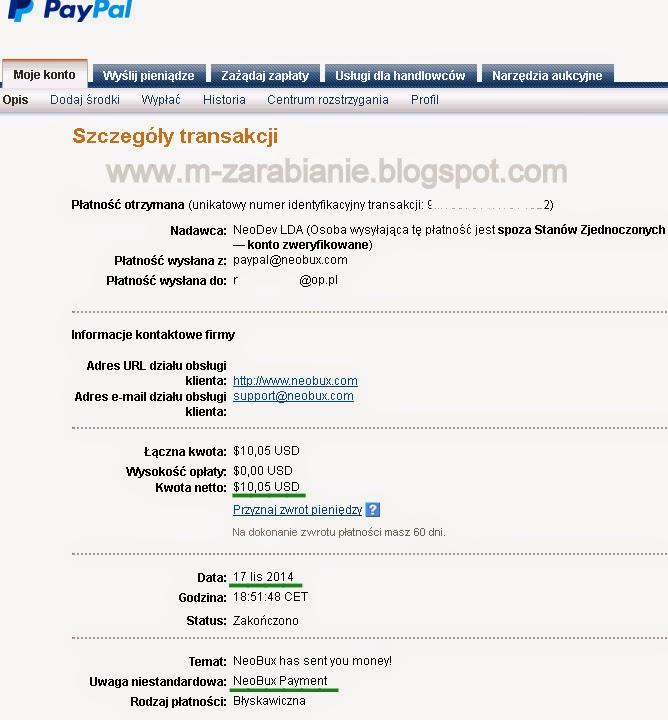 Neobux - dowód wypłaty 2014