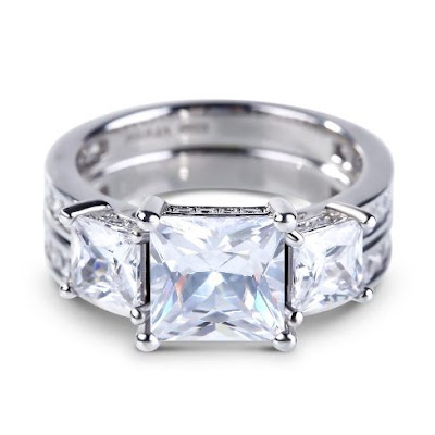 Three Stone Princess Cut Created White Sapphire Ring Set – Price: $160.00