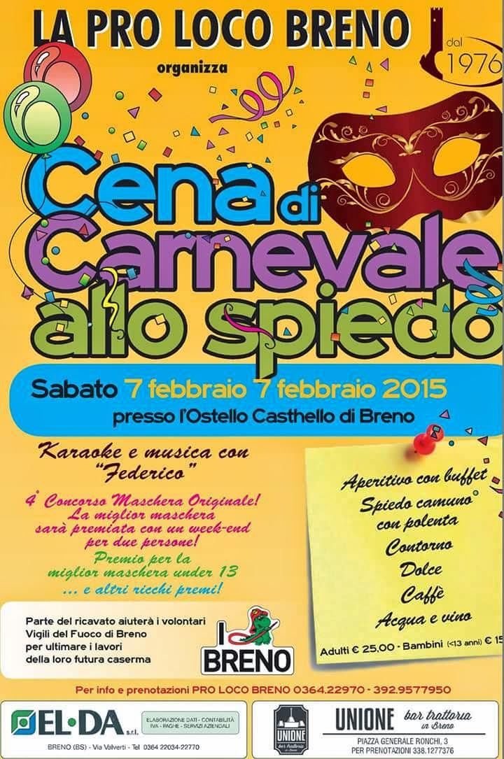 Cena di Carnevale allo Spiedo 7 Febbraio Breno (Bs)