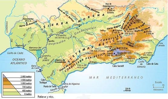 Mapa De Andalucía Físico.La Aventura Del Saber Sociales T3 Mapa Fisico De Andalucia