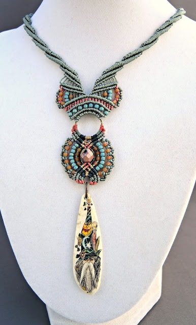 Micro macrame necklace with wizard pendant knotted by Sherri Stokey.