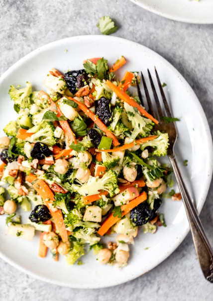 Chickpea Apple Broccoli Salad with Honey Dijon Dressing