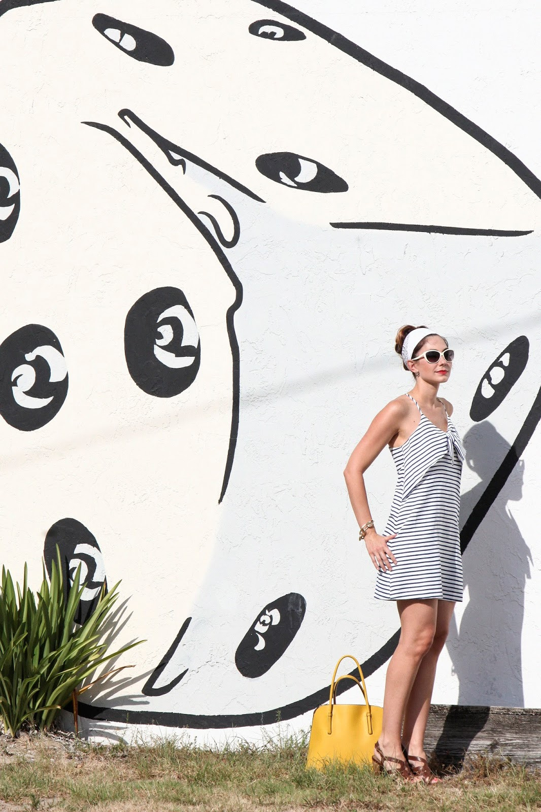 Amy West models Maeve's Ahoy Shift Dress and Cat eye sunglasses