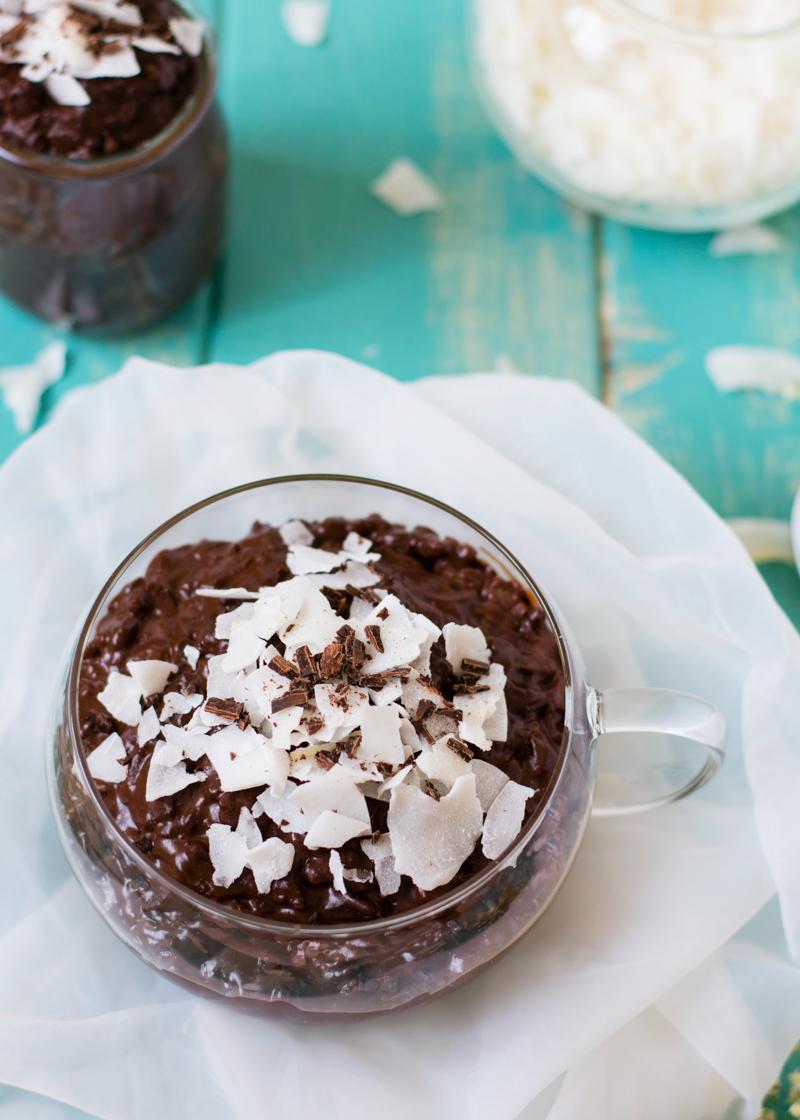 Arroz con leche de coco y chocolate