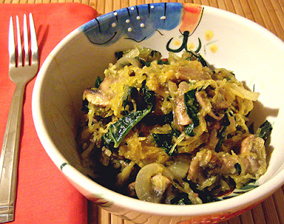Bowl of Pesto, Kale, and Mushroom Spaghetti Squash
